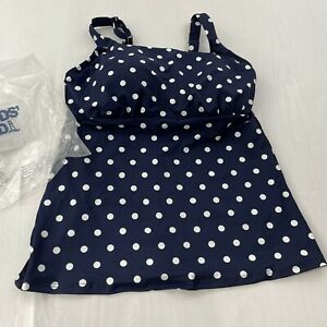 Lands End womens deep sea white polka dot tankini swimsuit top Only Size 12