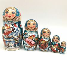 Russian Nesting Doll ROOSTER's BAND Hand Painted Signed by artist