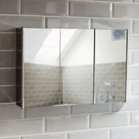 Bathroom Cabinet Triple Mirror Wall Mounted Stainless Steel Cupboard/Cabinet