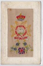 BEDFORDSHIRE REGIMENT: WW1 embroidered silk postcard (C31482)