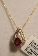 """NEW 18"""" Pear Cut Deep Red Ruby Necklace 14k YG (FREE GOLD CHAIN)"""