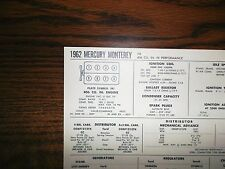 1962 Mercury EIGHT Series Monterey Models Hi Performance 406 CI V8 Tune Up Chart