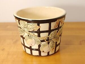 Antique Weller Art Pottery Apple Jardiniere Vase Planter Black & White RARE