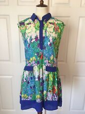 L'Amour Nanette Lepore Women's Size M Floral Tunic Shift Dress Sleeveless Collar
