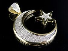 "10K Yellow Gold Crescent Moon Star Genuine Diamond Pendant Charm 9/10 Ct 1.9"""
