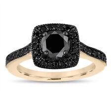 Enhanced Fancy Black Diamond Engagement Ring 14K Yellow Gold Halo Pave Handmade
