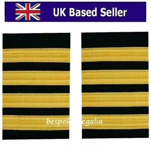 Pilot Captain,Gold Strips Epaulettes,Pilot Airline,Merchant Marine 4 Bars. Pair.