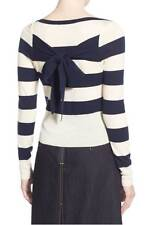OLIVIA PALERMO CHELSEA 28 Wool & Cashmere Striped Pullover Back Bow M Medium
