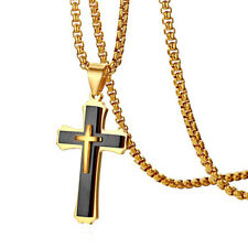 Crucifix Pendant Necklace Chain Stock Polished Stainless Steel Men Women Cross