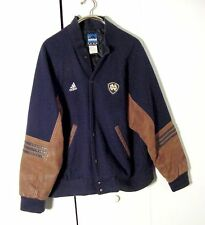 Vtg Notre Dame Adidas Blue Wool Brown Leather Bomber Jacket Sz XL/ 2XL
