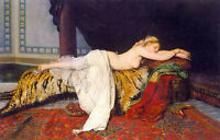 Oil painting Ignace Spiridon - jalisco lying on the made of tiger skin couch