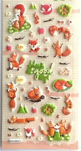 LAST Love Kawaii Fall Animal 3D Vinyl Sticker Fox Acorn Flower Autumn Kids JAPAN