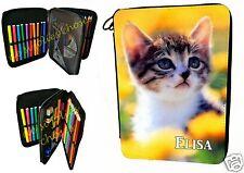 trousse à crayons école garnie chat personnalisable prénom au choix réf 22