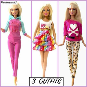 New barbie doll clothes outfit clothing 3 sets tracksuit pants tops skirt