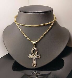 """Brand New 10 K Yellow/White Gold Ankh Cross Pendent With 10 K 26"""" Franco Chain"""