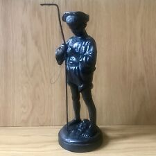"""More details for russian kasli 1973 black cast iron 11"""" figurine of a boy fishing. marks to base"""