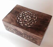 "NEW! Celtic Circle Carved Pentagram/Pentacle Tarot Box 4"" X 6"" Pagan/Wicca"