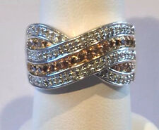 Champagne Diamond Ring, Platinum, Sterling Silver .925 Size 8
