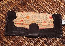 Handmade Leather Wallet With Hmong Embroidered Fabric