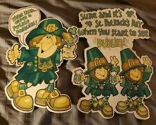 Vintage Hallmark 1979 St. Patrick's Day Cardboard Decorations Leprechauns