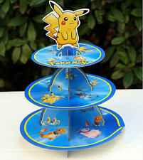 3 Tier Cupcake Stand Cup Cake Cases Toppers Wrappers, Pokemon Pikachu Pocket