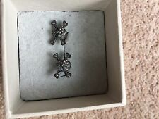 Vivienne Westwood Gunmetal Skull Crossbones Earrings Swarovski Crystals BNIB