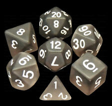 7 Piece Polyhedral Dice Set - Shadow Phantom Frosted Translucent Black -Grey Bag