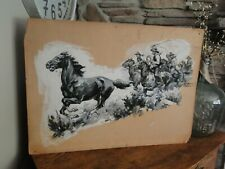 Vintage Original Period George Avison Western Style Pulp Illustration On Board