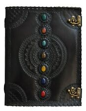 Seven Chakra Stone Embossed Black Leather Journal Book Diary Sketch Notebook