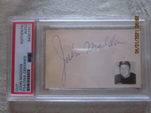 "John Madden Oakland Raiders Signed 2"" X 3.5"" Cut Encapsulated PSA Authentication"