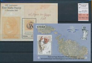LN27313 Malta cv 5,8 EUR pope first stamp anniversary sheets MNH