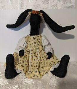 Vintage Black Bunny Rabbit Hand Made Fabric Spring Doll Farmhouse Folk Art Decor