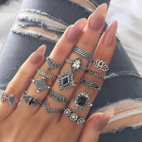 15pcs Women Boho Lotus Flower obsidian Stone Finger Knuckle Midi Ring Set Opal