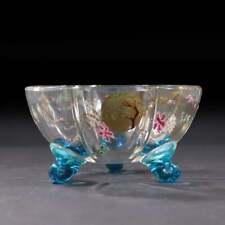 Daum Nancy France Clear Enameled Footed Bowl