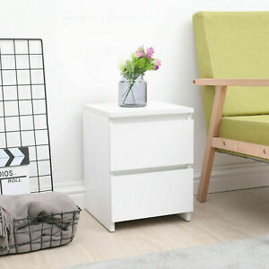 Modern Bedside Table Cabinet Chest of Drawers Bedroom Nightstand With 2 Drawers