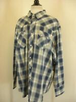Men's XXL Wrangler Western Pearl Snap Shirt Long Sleeve Shadow Plaid Blue White