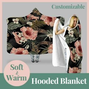 Personalized Dark Tropical Flower Hooded Throw Blanket Fleece Hoodie Cape