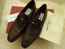 $780 Salvatore Ferragamo Men's Loafers Shoes 8D Auburn Brown Leather Gancio Logo