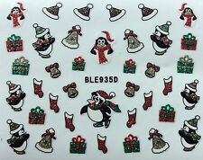 Nail Art 3D Glitter Decal Stickers Christmas Penguin Present Ice Skating BLE935D