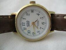 Acqua Watch Gold Toned Round Face Brown Buckle Band Water Resist Date Indicator