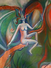 Rita Mantuano – La nascita di Eva - olio e foglia in rame Tela 50x50
