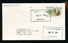 BAHAMAS CLARENCE TOWN BOXED CANCEL...PRINTED PAPER RATE to GB 1985