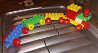 VINTAGE LEGO DUPLO TRAIN ENGINE WITH 3 TRUCKS LOVELY CONDITION ASSORTED COLOURS
