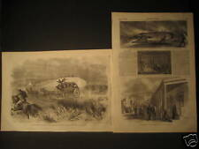 Indian Wars Attack On Stage Coach engravings 1866