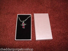 """Guardian Angel Necklace with 18"""" chain and pink stone with pink display box"""