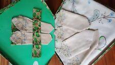 Vintage Art Deco  Linen Embroidered Tablecloth plus napkins - Boxed