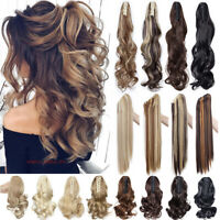 Long Thick Ponytail Claw Clip In Hair Extension Ombre Hairpiece as Natural Curly