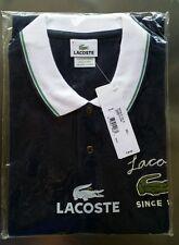 LACOSTE Men Navy Blue Fancy Polo Shirt 27 Size Large 6 Big Croc Crocodile PH7743