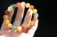 Tibetan Himalayan Clear Rutilated Quartz Crystal Bracelet Round Beads 10 mm