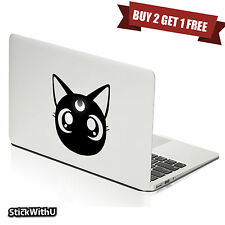 Macbook Air Pro Vinyl Skin Sticker Decal Cute Black Cat Sailor Moon Luna M723